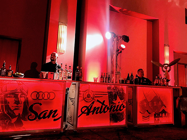 Audi San Antonio Ultimate Portable Mobile Beverage Catering Event LED Light Up Banquet Convention Bar on Wheels