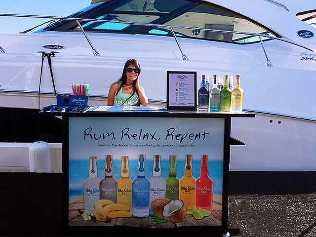 Blue Chair Rum Yacht Boat Mobile Bevarage Folding Branded Ultimate Portable Convention Bar Rum Relax Repeat