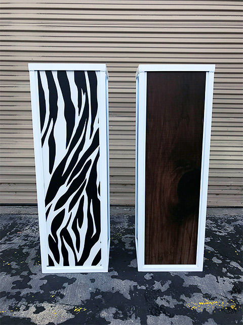Custom Event Cubes by Ultimate Bars Interchangeable Bar Panels Zebra Rustic Wood Cocktail Tables
