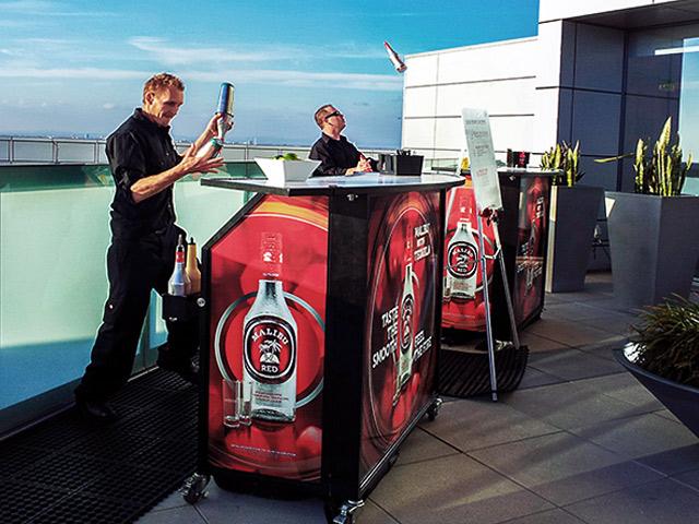 Malibu Red Folding Ultimate Custom Portable Mobile Beverage Catering Event LED Light Up Banquet Bars Bartenders