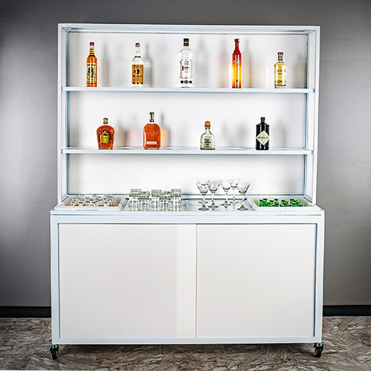 Mobile Liquor Display and Back Bar on Wheels Catering Banquets Hotel Ultimate Bar