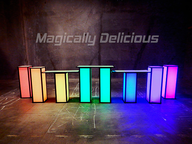 Multi Color LEd Light Cubes and Displays Portable Ultimate Bar Company Modular Interchangaable Bar Tops