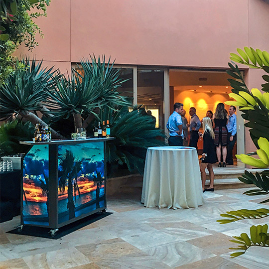 Outdoor patio Ultimate Custom Portable Mobile Beverage Catering Event LED Light Up Banquet Bars on Wheels