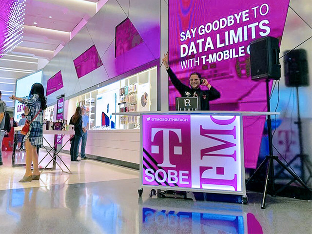 T Mobile Miami Ultimate Custom Portable DJ Booth Party Product Launch Event LED Lighting Logo