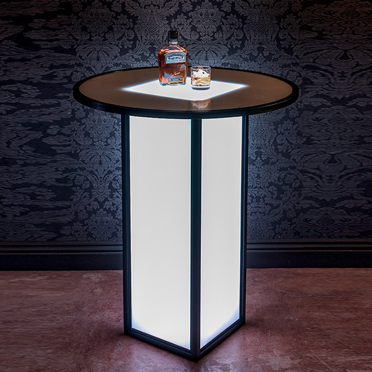 Ultimate BArs Lght up LED High Boy Cocktail Tables Event Cube Line Jack Daniels Banquets Catering Hotel