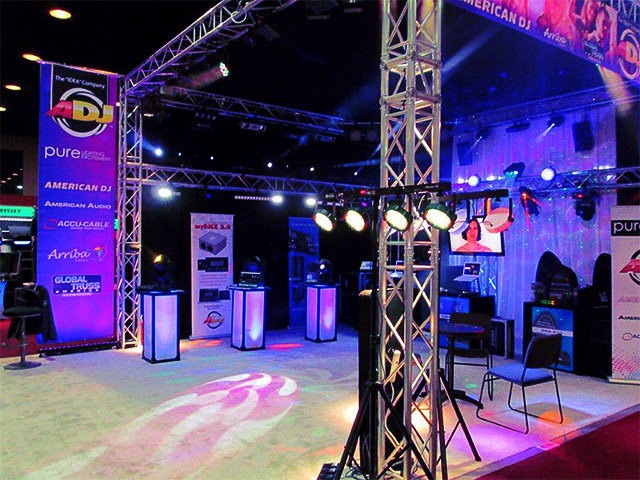Ultimate Bar Tradeshow Booth Setup ADj DJ Equipemt And Event Cubes LED