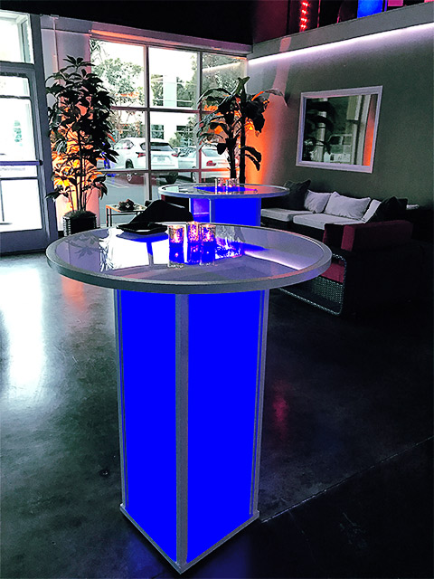 Ultimate Bars 42 Banquest Table Cocktail Highboy LED Color