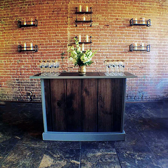 Ultimate Convention Custom Portable Mobile Beverage Catering Banquet Bar Rustic Professional Iterchangable Panels