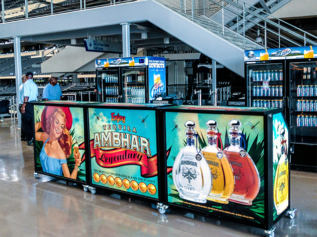 Ultimate Custom Portable Mobile Beverage Catering Event LED Light Up Banquet Bars Dallas Cowboy Stadium