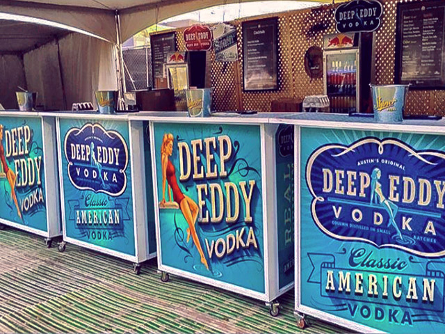 Ultimate Custom Portable Mobile Beverage Catering Event LED Light Up Banquet Bars Folding Deep Eddy Vodka Promo