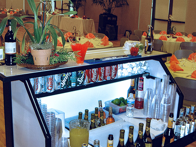 Ultimate Custom Portable Mobile Beverage Catering Event LED Light Up Banquet Bars Fully Stocked Bar