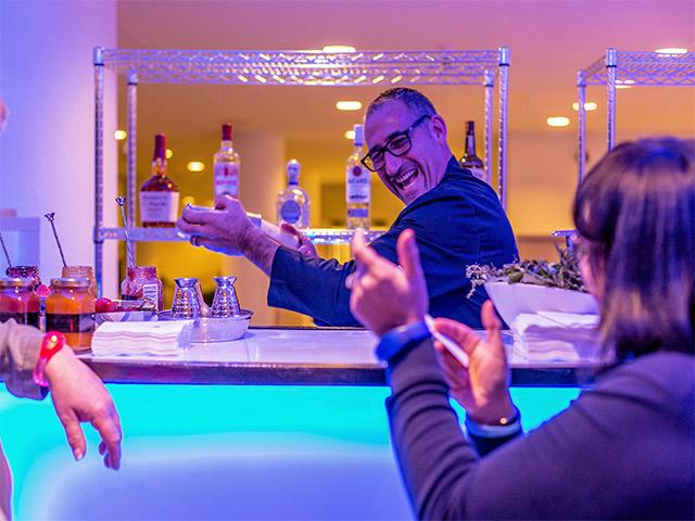 Ultimate Custom Portable Mobile Beverage Catering Event LED Light Up Banquet Bars Marriott Bartender Pouring