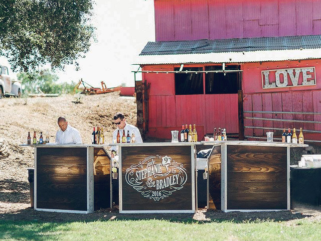 Ultimate Custom Portable Mobile Beverage Catering Event LED Light Up Banquet Bars Outdoor Rustic Wood Bars Barn