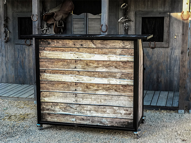 Ultimate Custom Portable Mobile Beverage Catering Event LED Light Up Banquet Bars Rustic Wood Bar Panle Inserts