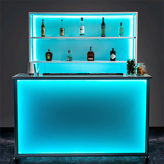 Ultimate Custom Portable Mobile Beverage Catering Event LED Light Up Banquet Stadium Bar
