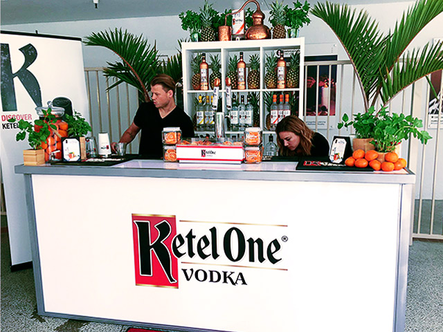 Ultimate Custom Portable Stadium Bar Wheels Folding KetelOne Vodka