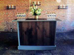Ultimate Portable Beverage Bar Interchangable Rustic Wood Panels