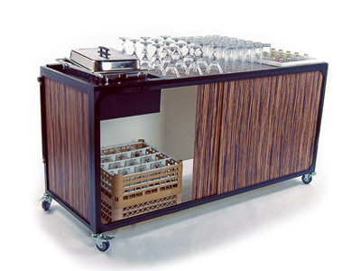 Ultimate Portable Mobile Bar Four Compartment Folding Back Bar with Wheels