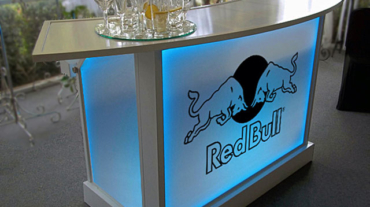 Ultimate Red Bull Outdoor Beverage Bar Radius Top Logo LED Lighting
