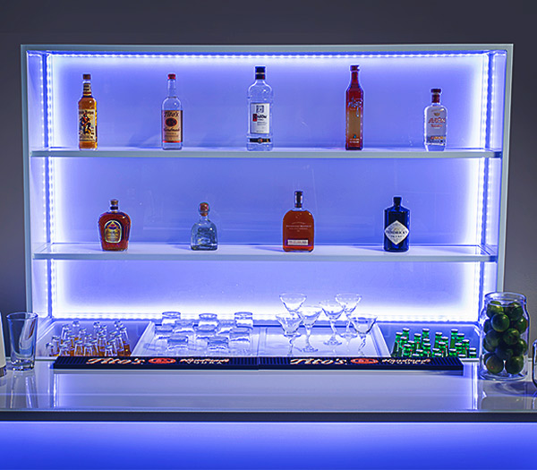 Ultimate Custom Portable Mobile Beverage Catering Event LED Light Up Banquet Back Bars Display XL